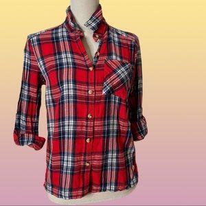 RED Plaid Flannel Tartan Button-Down Shirt